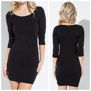 Dresses & Skirts - Black Seamless Fitted Dress, Soft Bodycon